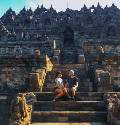 Temple Borobudur sur l'île de Java en Indonésie