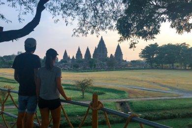 Temple Prambanan sur l'île de Java en Indonésie